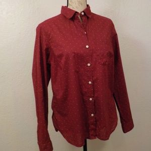 Old Navy The Classic Shirt Size M Mauve Polka Dots
